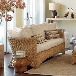 Tiburon Sofa, Oatmeal Silk Cushions - Add an element of texture to your room design with this Tiburon Sofa.  It's beautifully handwoven with lampakanay rope in a basketweave design over a rattan pole frame.  The oatmeal-colored cushions are upholstered in textured silk and designed for comfort.
