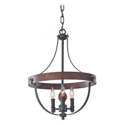 Murray Feiss - 3 Bulb AF/CHARCOAL BRICK/ACORN Chandelier - - UL Dry Approved.