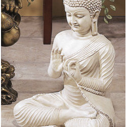 Buddha Vairochana White Cosmic Meditation Statute - Buddha Vairochana Peacefull meditation statue symbol of peace and harmony.Statue is in meditating pose with his two hands against the chest and tip of thumb and forefinger touching representing cosmic form. This statue is 19 inches tall x 13.5 inch long and made in polystone material. Statue color is white