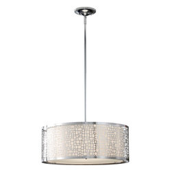 Feiss - Joplin Chrome Three-Light Drum Pendant - -Off White�Linen  -Canopy: D:6? DP:1 5/8? Round  -Material: Stainless Steel  -120 Volts  - Comes with Three 12 and One 6 Stems Feiss - F2638/3CH