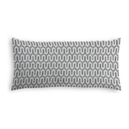 Pale Gray Geometric Custom Lumbar Pillow - The perfect solo statement on a modern chair or bed, the rectangular lines of the Simple Lumbar Pillow are effortlessly chic. We love it in this modern maze of ice gray and white on soft cotton sateen.