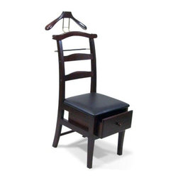 Proman - Proman Manchester Chair Valet Mahogany Finish - Manchester Chair Valet Mahogany finish. Traditional Design with solid maple wood. Beautiful hand fabricated contour back support makes this unit very comfortable to sit. Beautiful hand fabricated contour back support makes this unit very comfortable to sit. Keep your suit wrinkle free.