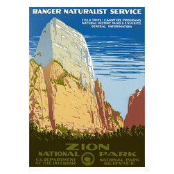 Zion National Park, Ranger Naturalist Service Print - Zion National Park, Ranger Naturalist Service. Poster shows view of a cliff at Zion Naitonal Park. Origional color silkscreen at 48 x 36 cm. First published by the Washington, D.C., Department of the Interior, National Park Service, ca. 1938.