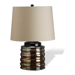 Interlude - Interlude Ravella Glass Lamp - Looking like a shiny stack of movie reels, this iron and glass table lamp tells a stylish story.  The glossy brown sheen and oversized drum shade invite an eclectic look that works equally well in a glam loft bedroom or table top next to your favorite reading chair.