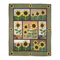 Patch Magic - Sun Burst Throw - 50 in. W x 60 in. L. 100% Cotton. Handmade, hand quilted. Machine washable. Line or flat dry only