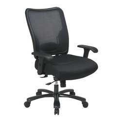 Space - Big Mans Professional Mesh Seat and Air Grid - Big and tall seating is proportioned for comfort and designed for a professional setting.  Quality construction is found throughout from the castered base to the framed black mesh back.  Chair also features multiple adjustment settings for armrests, height and tilt. * Click to visualize features. Pneumatic Seat Height (1). 360° Swivel (4). Mid-Pivot Knee Tilt (6). Tilt Tension (8). Tilt Lock (9). 44.5 in. H x 30.25 in. W x 28.75 in. D