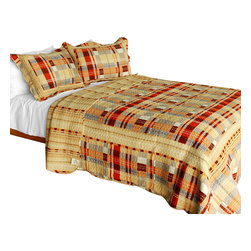 Blancho Bedding - Enthusiasm Waltz 3PC Vermicelli-Quilted Plaid Patchwork Quilt Set  Full/Queen - Set includes a quilt and two quilted shams (one in twin set). Shell and fill are 100% cotton. For convenience, all bedding components are machine washable on cold in the gentle cycle and can be dried on low heat and will last you years. Intricate vermicelli quilting provides a rich surface texture. This vermicelli-quilted quilt set will refresh your bedroom decor instantly, create a cozy and inviting atmosphere and is sure to transform the look of your bedroom or guest room. Dimensions: Full/Queen quilt: 90 inches x 98 inches  Standard sham: 20 inches x 26 inches.
