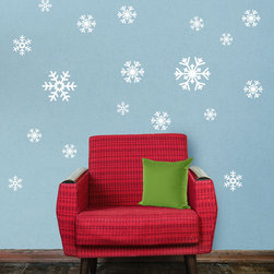 My Wonderful Walls - Snowflake Decal Sticker Variety Pack - Winter Holiday Decor - - Product: 20 white snowflakes decals