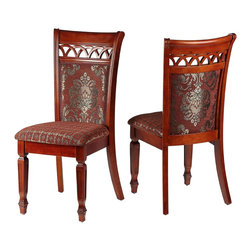 Cortesi Home - Asher Dining Chair (Set of 2) - The Asher dining chair adds a touch of class with its elegant and refined Queen Anne style. Intricately carved federal legs and a scalloped lattice back are standout features. Another design element is the beautiful beautiful auburn & gold brocade fabric juxtaposed between floriated scrolls & a geometric print. This chair is made out of solid wood in a chestnut finish and carved to perfection.
