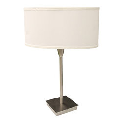 ORE International - 28 in. Oval Shade Accent Table Lamp - Oval white linen shade table lamp. Base is finished in brushed nickel. Slim and simple table lamp does not take too much of the spaces, and also gives a simple clean fresh look . UL listed. Uses two 60 watt tyep A bulb (not included). Dimensions: 18 in. L x 8 in. W x 28 in. H ( 8 lbs. )