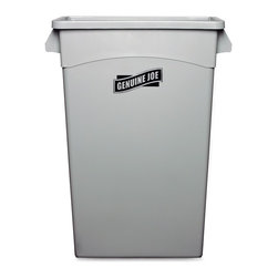 Genuine Joe - Genuine Joe Space-saving Waste Container - 23 gal Capacity - 30 Height x 22.5 W - Space-saving Waste Container holds 23 gallons of trash, but protrudes less than 1' from the wall. Sleekly designed container fits under most work tables. Built-in handles allow easy transport and emptying. Waste container includes a built-in bag cinch.