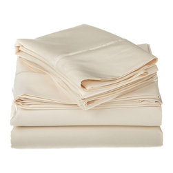 1200 Thread Count Egyptian Cotton Queen Ivory Solid Sheet Set - 1200 Thread Count oversized Queen Ivory Solid Sheet Set 100% Egyptian Cotton