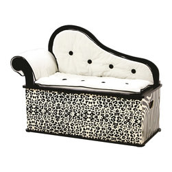 Levels of Discovery - Wild Side Bench Seat with Storage - Cheetah and zebra prints in black and ivory Sophisticated fainting couch design Slow-closing metal safety hingeCheetah and zebra prints. Fainting couch design. Removable back, arm and seat cushions. Slow-closing metal safety hinge. All products have instructions included for assembly