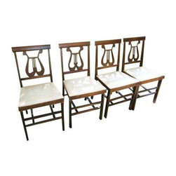 Set of 4 Mahogany Harp Back Folding Chairs - $325 Est. Retail - $275 on Chairish -