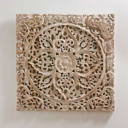"Viva Terra - White Lotus Wall Art - This lightly whitewashed carving exhibits a captivating three-dimensional motif of vines and lotus blooms. The lightfinish highlights its interlaced floral patterns without masking thenatural teak wood tone. Mounted on a wall or leaning on a side-board or table, the panel merges design complexity with meditativetranquility, like a mandala.24""SQ x 1""D"