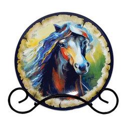Westland - Equus Multicolor Nine Horse Decorative Plate with Black Holder - This gorgeous Equus Multicolor Nine Horse Decorative Plate with Black Holder has the finest details and highest quality you will find anywhere! Equus Multicolor Nine Horse Decorative Plate with Black Holder is truly remarkable.