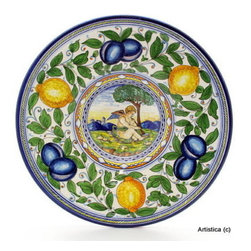 Artistica - Hand Made in Italy - FIRENZUOLA: Wall Plate with mythological scene (16D.X3H.) - FIRENZUOLA: The Firenzuola Collection portrays a true classic Tuscan design featuring fruits surrounded by intricate foliage design.