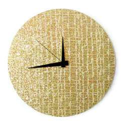 "Modern Wall Clock, Art Deco Decor - This retro gold glitter wall clock is positively glistening with opulence and a measure of allure. Custom handmade from a 12"" vinyl record, it is the perfect harmony of glitz and glamour. The face of this clock features  gold glitter pattern that commands attention. It will make a sensual addition to your boudoir or anywhere else you want to make a bold statement. Hang it on a navy blue or jet black wall to optimize it's appeal. You'll fall in love all over again each time you glance at the time."