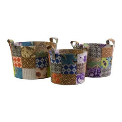 "IMAX - Sidonie Batik Basket - Set of 3 - Unused fabric remnants from local artisans of Indonesia are quilted together to create the pattern of this set of three Sidonie batik baskets. Item Dimensions: (12.25-13-14""h x 13-14.75-16.25""d)"