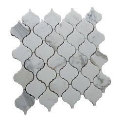 Tiles R Us - Calacatta Gold Marble Polished Arabesque (Lantern) Mosaic Tile, Box of 5 Sq.ft. - - Calacatta Gold Italian Calcutta Marble Polished (Shiny finish) Moroccan Lantern Arabesque Mosaic Tile.