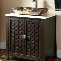 "Belle Foret - 30"" Single Vessel Sink Vanity Set - Features: -Vanity set. -Espresso finish. -Single basin vanity. -Cream marble top. -Wooden pattern door inlays. -Includes glass vessel bowl sink. -Doors open to storage compartment. -Satin nickel cabinet hardware included. -Pre-drilled for single hole mount faucet. Dimensions: -Vessel sink: 4.5"" H x 21"" W x 12.5"" D. -Overall dimensions: 31"" H x 30"" W x 22"" D, 138 lbs."