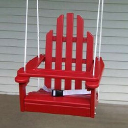 Prairie Leisure Kiddie Adirondack Swing Chair, Fire Engine Red - I love this kids' Adirondack swing. It even comes with a seatbelt!