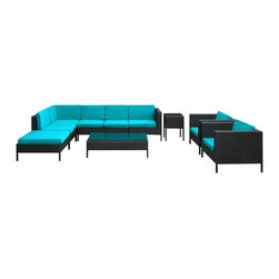 LexMod - La Jolla Outdoor Wicker Patio 9 Piece Sectional Sofa Set in Espresso with Turquo - Shine with hidden brilliance with this powerful force of an outdoor living arrangements. Finely constructed espresso rattan seating sectionals with all-weather turquoise fabric cushions give a sense of space and roominess that allow for true flexibility and comfort. Aim higher and give thanks and appreciation to picture perfect days spent outside.