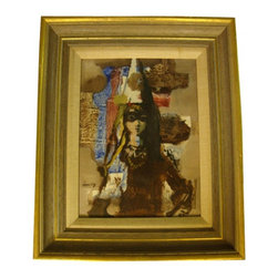 """Lou Zansky Masquerade IV Oil on Board - Here's yet another masterpiece of an oil on mason board entitled """"Masquerade IV"""" by Lou Zansky (1920-78).   It is a 9"""" x 12"""", framed with a linen matting.  Frame measurements are 14"""" x 17""""."""