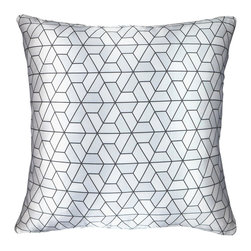 "NECTARmodern - Triangles (silver) modern printed throw pillow cushion 20"" x 20"" - Geometric triangles and hexagons pattern. Three-tone silver satin pillow with dark gray lines.  Solid white linen back for weight and structure. Designer quality cover with overstuffed feather/down insert."