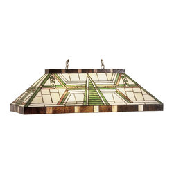 """Meyda Tiffany - Meyda Tiffany 47975 Dana 39"""" House Oblong Rectangular Kitchen Island / Billiard - This handsome mission style oblong pendant is perfectly suited to illuminate a counter or game table. The pendant shade, of Bark Brown, Beige and Garden Green is suspended from Mahogany Bronze hardware and chains."""