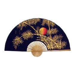 Oriental-Décor - Bamboo Moon - A piece of Asian art for your wall, this hand-painted fan depicts delicate stands of golden bamboo highlighted by a full moon.