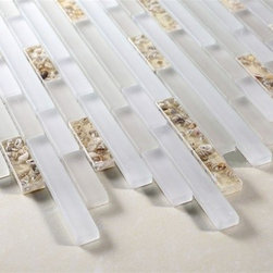 Zen Mother of Pearl Polished Random Brick Glass Tile - Random Bricks Pattern Zen Mother of Pearl Polished & Froasted Mesh-Mounted Glass Mosaic Tile Seashell Deco Insert is a great way to enhance your decor with a traditional aesthetic touch. This Mosaic Tile is constructed from durable, impervious Glass material, comes in a smooth, unglazed finish and is suitable for installation on floors, walls and countertops in commercial and residential spaces such as bathrooms and kitchens.