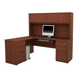 "Bestar - Bestar Prestige + 6-Piece L-Shape Computer Desk in Cognac Cherry - Bestar - office Sets - 9987776 - The Prestige + Collection features a steadfast value and a traditional design. Ideal for every type of office including home office the credenza and return are designed with durable 1"" commercial grade work surfaces with a melamine finish that resists scratches stains and burns as well as a shock resistant 0.1""PVC edge. Adding to these details are an efficient wire management system with grommets classic ribbed side moldings and a large work surface. The matching hutch offers plenty of closed storage space large enough to fit letter-format binders. The hutch doors are fitted with strong adjustable hinges. The pre-assembled pedestals each have two utility drawers and a file drawer that's able to store letter- and legal-sized paper. All drawers are fitted with double extension ball-bearing slides for smooth openings. The built-in lock secures the two bottom drawers. This desk also includes a keyboard shelf with double-extension ball-bearing slides and a CPU platform. This unit meets or exceeds AINSI/BIFMA performance standards. Also available in Chocolate or Bordeaux and Graphite finishes."