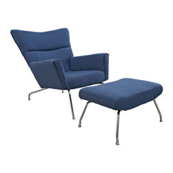 LexMod - Class Lounge Chair in Blue Tweed - Gather strength between two joined wingtips with the captivating First Class Chair. Perched on two back and fore chrome legs, the piece perfectly illustrates the correspondence of elements in motion.  Complete with a capacious ottoman, experience incredible style without sacrificing on comfort.