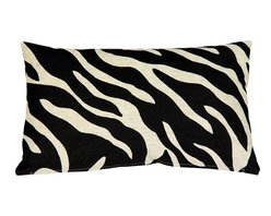 Pillow Decor - Linen Zebra-Print Throw Pillow - A bold black zebra pattern print is splashed across this light sand, 100% linen pillow, front and back. Unlike many other scaled down zebra print designs, this pattern is large enough really do the zebra justice. The more neutral and less contrasting black on sand color combination gives this 12 x 20 rectangular pillow a calm versatility.