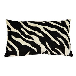 Pillow Decor - Pillow Decor - Linen Zebra Print Throw Pillow - A bold black zebra pattern print is splashed across this light sand, 100% linen pillow, front and back. Unlike many other scaled down zebra print designs, this pattern is large enough really do the zebra justice. The more neutral and less contrasting black on sand color combination gives this 12x20 rectangular pillow a calm versatility.