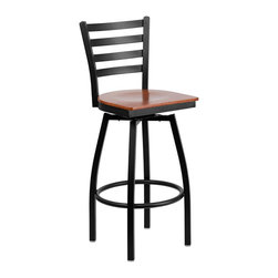 Flash Furniture - Flash Furniture Hercules Swivel Metal Bar Stool in Black and Cherry - Flash Furniture - Bar Stools - XU6F8BLADSWVLCHYWGG - This stylish swivel bar stool will compliment any Home Restaurant Lounge or Bar. The 360 degree swivel seat allows you to swing around effortlessly. The wood seat is easy to clean for quick customer turnovers in restaurants. The heavy duty frame makes t