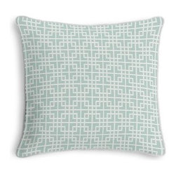 Aqua Woven Square Lattice Custom Throw Pillow - Black and white photos, Louis XIV chairs, crown molding: classic is always classy. So it is with this long-time decorator's favorite: the Corded Throw Pillow. We love it in this interlocking square trellis woven in aqua blue and white with a hint of sheen. Equal parts plush and posh.
