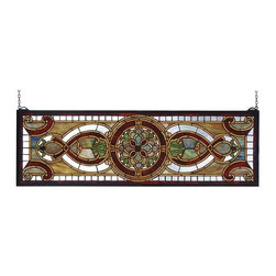 "Meyda Tiffany - Meyda Tiffany 77908 Stained Glass Tiffany Window Transom Windows Collec - 35"" W X 11"" H Evelyn In Topaz Transom Window513 Pieces Of Hand Cut Stained Glass And 10 Jewels Are Used To Make This Elegant Transom Window, Featuring A Floral Medallion Flanked With TranslucentIncludes Mounting Brackets and Chains"