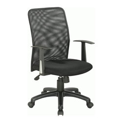 Chintaly Imports - Black Cloth Mesh Upholstered Back Pneumatic Gas Lift Office Chair - Pneumatic gas lift adjustable height swivel office chair. Seat is upholstered in black cloth mesh. 5 star caster base allow the chair to move with ease.