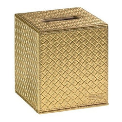 Gedy - Square Faux Leather Tissue Box Cover, Gold - Faux leather tissue box holder with magnetic closing flap