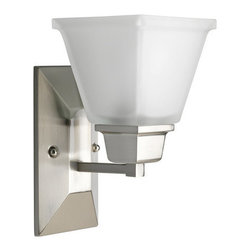 Progress Lighting - Progress Lighting P2733-09 North Park Single-Light Bathroom Sconce with Square - Progress Lighting P2733 North Park Bathroom Light / Wall Sconce