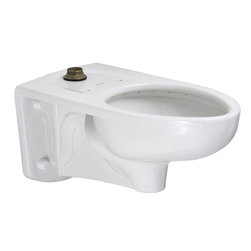 "American Standard - American Standard 2633.001.020 Afwall FloWise Toilet Bowl, White - American Standard 2633.001.020 Afwall FloWise Toilet Bowl, White. This toilet bowl features an elongated, wall-hung flush-o-meter valve, a direct-fed siphon jet flush action, a conventional glaze, a fully-glazed 2-1/8"" trapway with a 2"" minimum ballpass, a condensation channel, and a 1-1/2"" top inlet spud. This model features a slotted rim for bed pan holding."