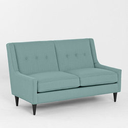 Georgia Love Seat, Slate - Very retro in spirit, this 60-inch love seat will slide right into apartments of any size.