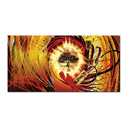 "Fabuart - ""Tree of Life"" - Asia Red Abstract Artwork- 1 panel - 32 x 16 in - This beautiful graphic design is printed in high quality fade resistant ink on high quality canvas, stretched around 1 inch wooden sub frames and arrives ready to hang on the wall."