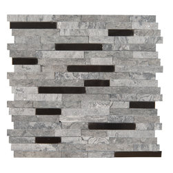 Eclipse - Eclipse mixes gray marbles with brushed aluminum pieces to create an intriguing 3-dimensional look. The split face texture offers a more rugged stone appearance while the metal pieces add an urban flair.