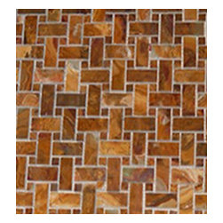 1 in. x 2 in. Multi Brown Polished Basketweave Pattern Mesh-Mounted Onyx Mosaic - 1 in. x 2 in. Multi Brown Mesh-Mounted Basketweave Pattern Onyx Mosaic Tile 5/8 in. Multi Brown Onyx Dot Insert is a great way to enhance your decor with a traditional aesthetic touch. This Polished Mosaic Tile is constructed from durable, impervious Onyx material, comes in a smooth, unglazed finish and is suitable for installation on floors, walls and countertops in commercial and residential spaces such as bathrooms and kitchens.