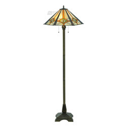Meyda Tiffany - Meyda Tiffany Crosshairs Mission Hex Floor Lamp X-496811 - From the Crosshairs Collection, this Meyda Tiffany floor lamp features a tapered angular shade with a mission-inspired pattern. The crosshairs pattern is accentuated by yellow-oranges, greens, beiges, with the frame finished in a classic and appropriate Dark Bronze hue.