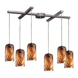 ELK Lighting - ELK Lighting 544-6 Contemporary / Modern 6 Light Island / Billiard Fixture - Elk Lighting 544-6 Six Light Island Light from the Molten CollectionIndividuality Is What Defines This Exquisite Line Of Hand Blown Glass. Each Piece Is Meticulously Hand Blown With Up To Three Layers Of Uncompromising Beauty And Style.
