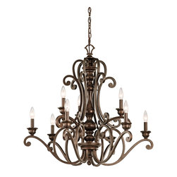 Kichler Lighting - Kichler Lighting Mithras 9-Light Traditional Classic Chandelier X-ZRT08234 - Romantic curves and refined styling make this 9 light chandelier from the Mithras collection an elegant showpiece. Featuring a unique Terrene Bronze&trade: finish, this design will elevate and enhance your home.